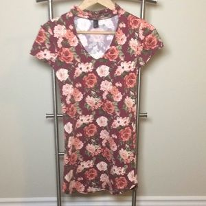 Forever 21 mock neck v-neck floral dress